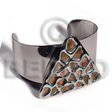 Haute hippie 38mmx28mm metal cuff Shell Bangles