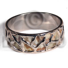 MOP  skin  in 1 inch  stainless metal / 65mm in diameter / molten silver metal series / electroplated / sr-b1-06 - Shell Bangles