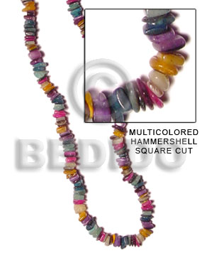 Multicolored hammershell square cut Shell Beads