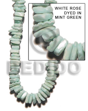 White rose dyed in mint Shell Beads