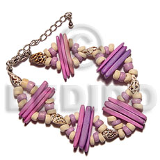 2 rows lavender coco indian Shell Bracelets