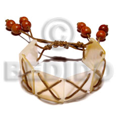 hand made 20mmx20mm mop squares in brown Shell Bracelets