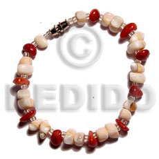 Mosaic luhuanus red corals Shell Bracelets