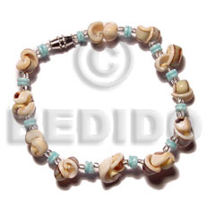 hand made Popcorn luhuanus blue white Shell Bracelets