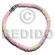 Pastel colored combination white clam Shell Bracelets