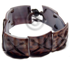 7 pcs. 20mmx20mm square cowrie tiger in criss cross brown wax cord - Shell Bracelets