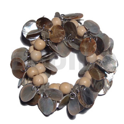 15mm dangling round blacklip Shell Bracelets