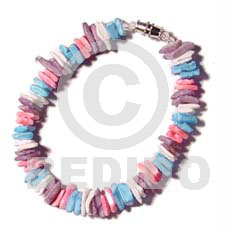 White rose in pastels Shell Bracelets