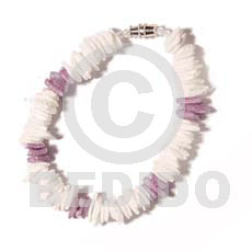 White rose dyed lilac Shell Bracelets