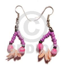 Dangling 2-3mm pink coco pokalet Shell Earrings