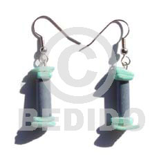 Dangling pastel bluewoodtube dyed Shell Earrings