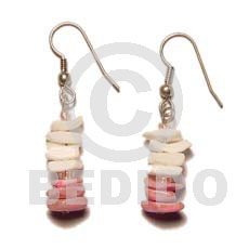 hand made Dangling white rose old rose Shell Earrings