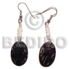 Dangling 16x23mm black tab oval Shell Earrings