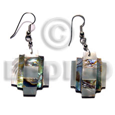 Dangling overlapping abalone and troca Shell Earrings