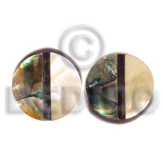 hand made Inlaid troca and abalone round Shell Earrings