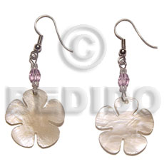 Dangling 30mm hammershell flower Shell Earrings