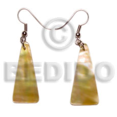 hand made Dangling tall pyramid mop 30mmx15mm Shell Earrings