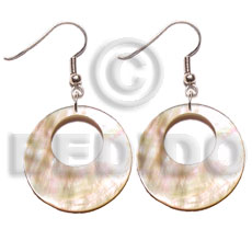 hand made Dangling 35mm round mop Shell Earrings