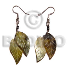 Dangling double leaf brownlip 25mm Shell Earrings