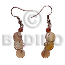 Dangling triple 10mm round brownlip Shell Earrings
