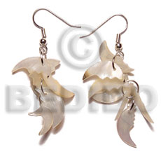 Dangling 17mmx8mm hammershell 7pcs. quarter Shell Earrings