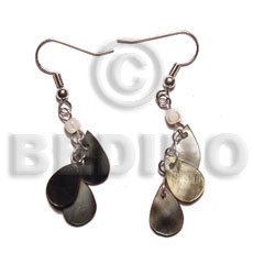Dangling 15mmx8mm triple teardrop blacklip Shell Earrings