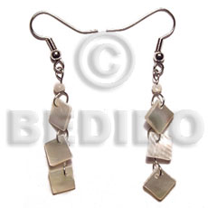 Dangling 8mm hammershell triple Shell Earrings