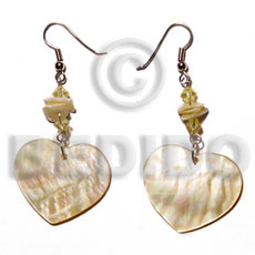 Dangling mop heart 25mmx30mm Shell Earrings