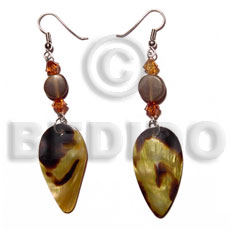 Dangling teardrop blacklip tiger 35mmx20mm Shell Earrings