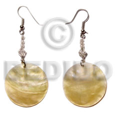 Dangling 25mm mop glass Shell Earrings