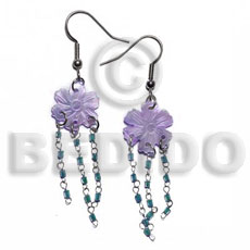 Dangling 15mm grooved lilac hammershell Shell Earrings