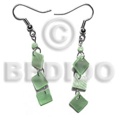 hand made Dangling 8mm pastel green Shell Earrings