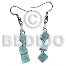 Dangling 8mm aqua blue Shell Earrings