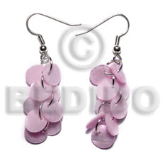 hand made Dangling multiple pastel pink round Shell Earrings