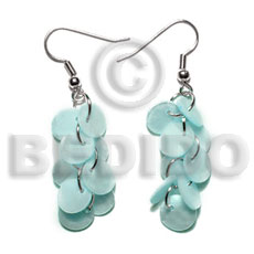 Dangling multiple aqua blue round Shell Earrings