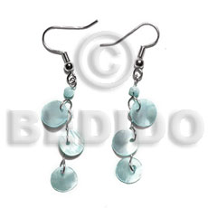 Dangling triple 10mm aqua blue Shell Earrings