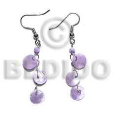 Dangling triple 10mm lilac round Shell Earrings