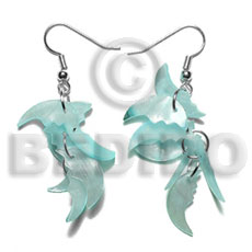 Dangling 17mmx8mm aqua blue hammershell Shell Earrings