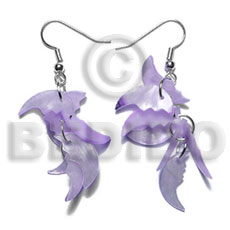Dangling 17mmx8mm lilac hammershell 7pcs. Shell Earrings