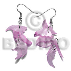 Dangling 17mmx8mm pastel pink hammershell Shell Earrings