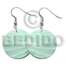 30mm pastel green round kabibe Shell Earrings