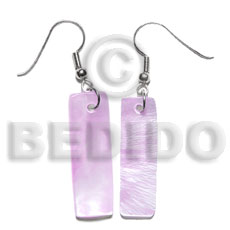 Dangling 30x10mm lilac hammershelll bar Shell Earrings