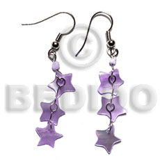 Dangling 10mm lilac triple star Shell Earrings