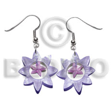 Dangling 40mm lilac sun hammershell Shell Earrings