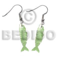 35mm pastel green fishbone hammershell Shell Earrings