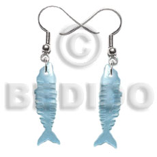 35mm pastel blue fishbone hammershell Shell Earrings