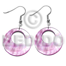 hand made Dangling 35mm pastel pink round Shell Earrings