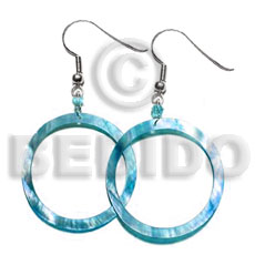 Dangling aqua blue kabibe Shell Earrings