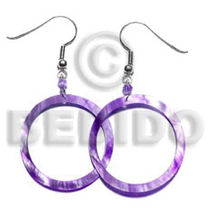 Dangling lavender hammershell earrings Shell Earrings
