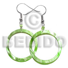 Dangling lime green hammershell Shell Earrings